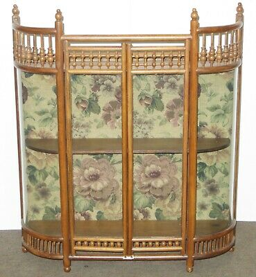 Old Antique STICK & BALL Design Oak Wall Mount Curved Glass CURIO CABINET