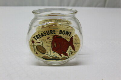 Vintage 1950's Bower Manufacturing Fish Bowl Glass Piggy Bank, Top Not Included