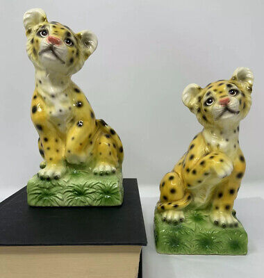 Vintage Cheetah / Leopard Cub Bookends ~ Weighted ~ Japan