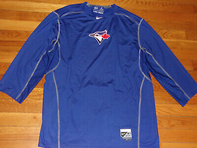 New Nike Pro Combat Dri-Fit Toronto Blue Jays 3/4 Sleeve Fitted Jersey Mens Xl