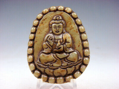 Old Nephrite Jade Hand Carved *Shakyamuni Buddha Praying* Pendant #08091806