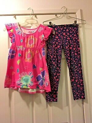 Lot of 2 Circo Pink Floral Top & Old Navy Blue w Pink Hearts Leggings  Lg 10-12