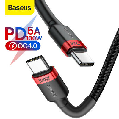 Baseus 100W USB Type C to Type C Cable Cord PD Fast Charging for Samsung Macbook
