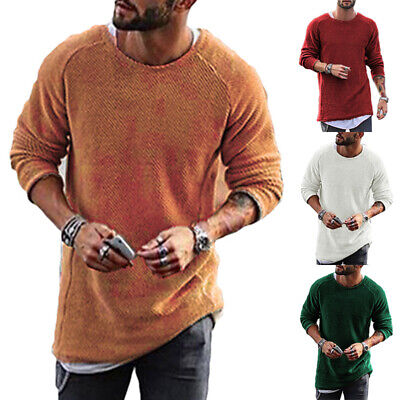 Mens Long Sleeve Knitted Shirt Slim Fit Pullover Sweater Crew Neck Top T-shirts