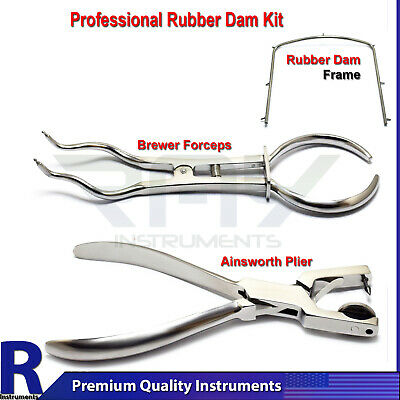 Dental Rubber Dam Kit Endodontic Brewer Forceps Clamp Punch Hole Frame Surgical
