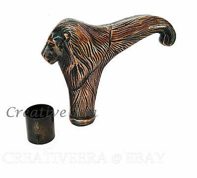 Brass Copper Antique Lion Head Walking Cane Handle For Wooden Walking Stick Gift