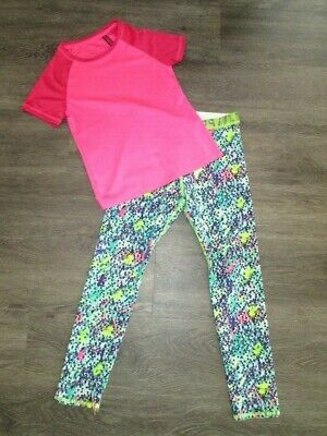 Girls M&S Sports Top/Leggings Age 8-9 Yrs Vgc