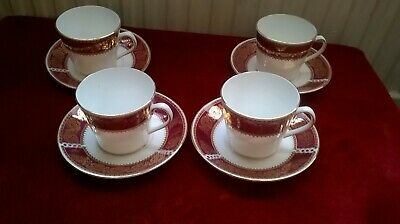 4 X Elizabethan English Bone China 'Burgundy' Coffee Cups And Saucers/Duos