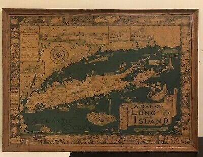 """1961 Courtland Smith Pictorial Map of Long Island, New York 28""""x20""""x 1""""(frame)"""