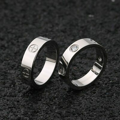 Stainless Steel Ring With Stone Crystal Women Men Love Screw Screwdriver Cross