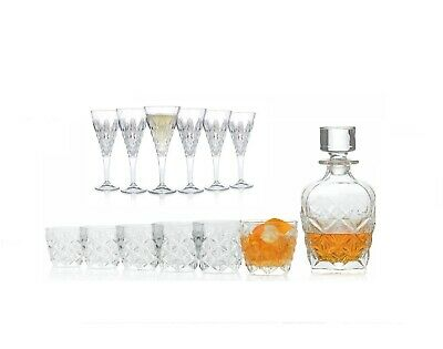 RCR Enigma Crystal Glassware Decanter, Whisky Tumblers & Wine Glass Set