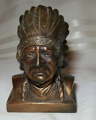 Vintage Cast Metal BANTHRICO INC Indian Chief Head Coin Bank Multnomah Bank