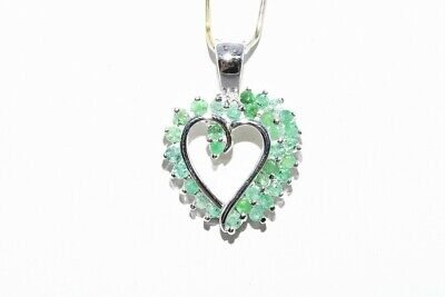 .75Ct Natural Round Cut Green Emerald Cluster Open Heart Pendant .925 Silver