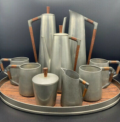 Mid-Century Modern Tea Coffee Set by Royal Holland Pewter KMD MCM