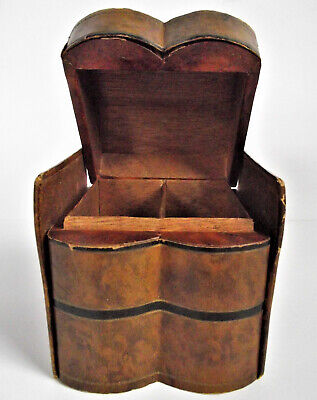 Antique French Italian Leather Figural Faux Book Wood Box Gilt Gold MINIATURE