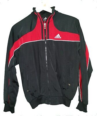 ADIDAS BLACK / RED SPORTS TRACK JACKET - Age 13 / 14 Years