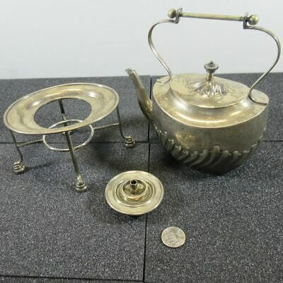 Antique P & Co. English Birmingham Sterling Silver Tea Kettle with Stand and Oil