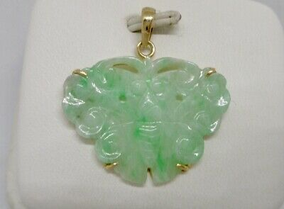 Chinese 14K Yellow Gold Natural Carved Green Jade Butterfly Pendant A Beauty