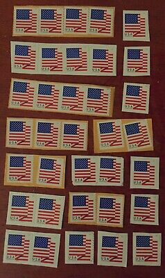 Lot of 35 2018 Uncancelled Flag USPS Forever Stamps Used On Paper United States