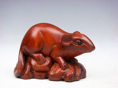 """Y6554-2/"""" Good Quality Hand Carved Boxwood Netsuke 2 Lovely Mice"""