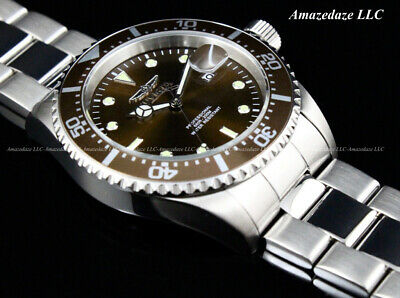 NEW Invicta Men's Pro Diver SUBMARINER Brown Dial Stainless Steel 200 M Watch !!