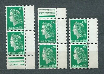 MARIANNE DE CHEFFER - 1969 YT 1611 3 paires - TIMBRES NEUFS** MNH LUXE