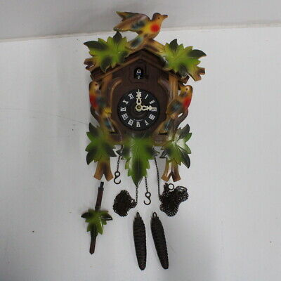 West German Wooden Cuckoo Clock Birds Black Forest Style Pendulum #710