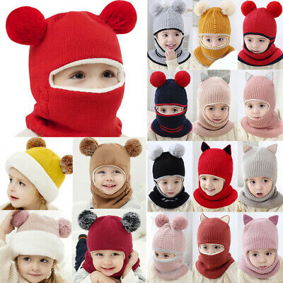 Toddler Infant Kids Baby Boy Girl Hooded scarf Caps Hat Winter Knit Scarf 81