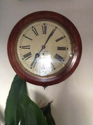 Antique Victorian  Railway/School Wall Clock.  Spares Or Repairs