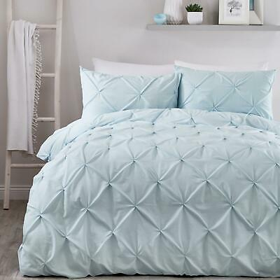 Duck Egg Duvet Covers Blue Ruched Pin-Tuck Stitch Plain Quilt Cover Bedding Sets