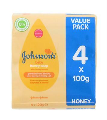 (THREE PACKS) Johnsons Baby Honey Soap 4 x 100g Bars