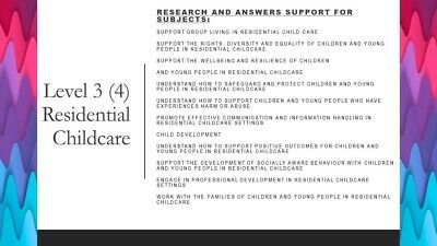 Level 3 Residential Childcare - research and support answers