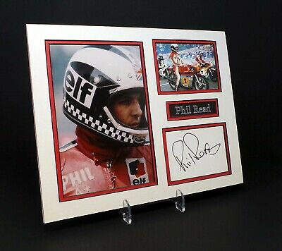 Phil READ Signed Mounted Photo Display AFTAL Grand Prix Motorcycle Road Racer