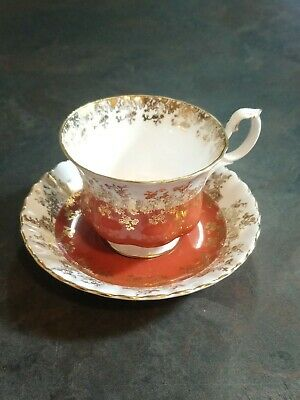 Royal Albert Regal Series Footed Cup & Saucer Set Red White Gold Vintage England