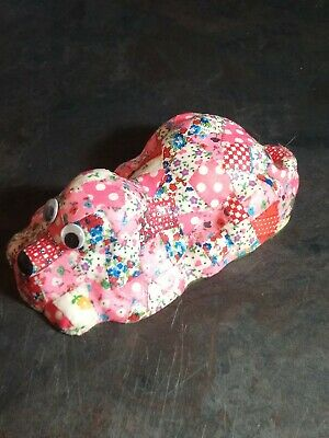 Vintage Decoupage Quilted Chalkware Dog Googly Eyes Mid Century 50's 60's Pink