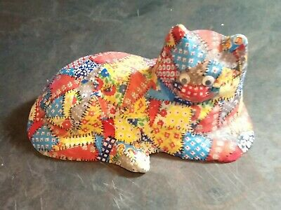 Vintage Decoupage Quilted Chalkware Cat Kitten Googly Eyes Mid Century 50's 60's