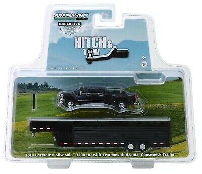 1:64 GreenLight *BLACK* 2018 Chevrolet Silverado Dually w/LIVESTOCK TRAILER NIP