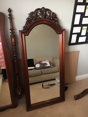 ANTIQUE MAHOGANY Bevelled Wall Mirror VINTAGE EDWARDIAN Hall Mirror with Shelf