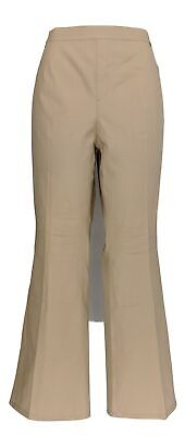H by Halston Women's Petite Pants 16 Stretch Bootcut Pull-On Beige A289387