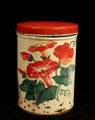 Vintage Red & White Metal Tole Ware Tin With Morning Glories