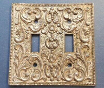 Vintage 1968 DUAL Light Switch Plate Cover PATINA Brass Flower Pattern M.C. CO