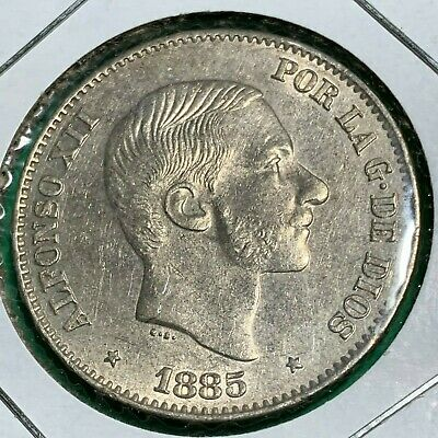Spain Philippines Fifty Centavo 1885 Alfonso Xii Uncirculated #523