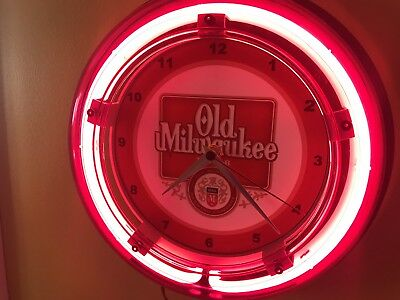 Old Milwaukee Beer Bar Advertising Man Cave Neon Wall Clock Sign