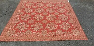 """Antique Wool Salmon And Cream Floral Coverlet 78"""" X 94 1/2"""""""
