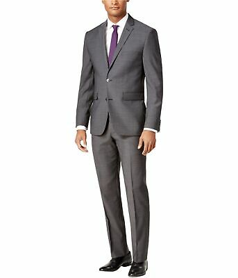Vince Camuto Mens Slim Fit Wool Two Button Blazer Jacket, Grey, 42 Long