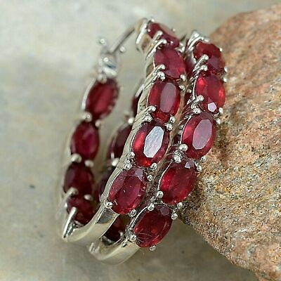 3 Ct Red Ruby Inside Out Oval Cut Hoop Earrings In 14k White Gold Finish