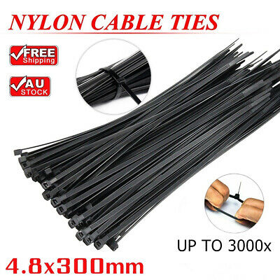 Cable Ties Zip Ties Nylon UV Stabilised 1/100/500/1000/3000x Bulk Black Ties