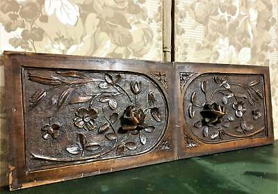 Pair rose flower wood carving panel Antique french architectural salvage reclaim