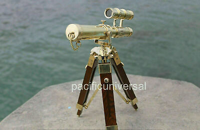Nautical Solid Brass Double Barrel Marine Telescope With Maritime Wooden Tripod