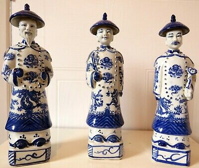 Early 20th C. Chinese Porcelain Three Qing Dynasty Emperors Statues-figurines